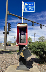 Communication (Sally Harmon Photography) Tags: lakewood colorado unitedstates us red phone booth call anywhere no signofthetimes