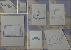 Some new adventures stitched down (Landanna) Tags: embroidery embroideryonpaper broderi broderipåpapir borduren bordurenoppapier blue blauw blå white wit hvid handmade paperart paperwork handgemaakt pinpricking insertcollage