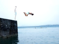 """Taking the plunge"" Desenzano, Italia. (isaacullah) Tags: doubleexposure diving italy travel highkey blue light action"