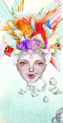 Fish Fiesta (Jewel Appletor aka Karalyn Hubbard) Tags: fish fiesta goldfish colorful headdress bubbles doll head couture fashioncouture hpmd coco dollcoco whimsical fantasy illustration photo photograph pixlperfectphotography digitalart art artist artwork