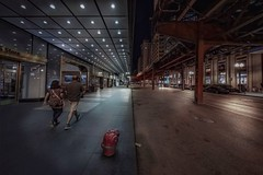 Side by side (karinavera) Tags: travel sonya7r2 view building architecture city urban night street chicago people walking