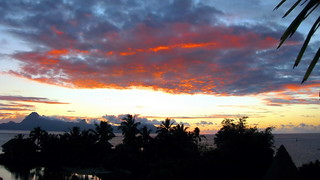 170626 Sunset derrière les cocotiers, Faaa, Tahiti