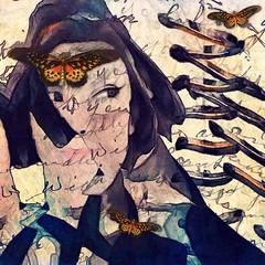 Not a word was spoken... (lorenka campos) Tags: femalefaces faces blue melancholy popart art modernart expressionism butterflies portraits