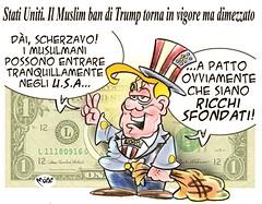 """TrumpBan (Moise-Creativo Galattico) Tags: editoriali moise moiseditoriali """"editorialiafumetti"""" giornalismo attualità satira vignette trump bando musulmani usa"""