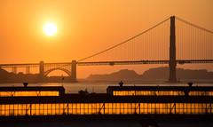 Golden (Katka S.) Tags: usa united states america san francisco golden gate bridge bay water window windows light sun sunset orange silhouette fotocompetitionbronze