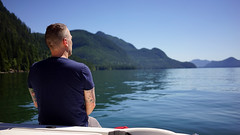 Olle, Stave Lake (Eric Flexyourhead) Tags: stavelake mission canada britishcolumbia bc water lake freshwater reservoir friend guy man dude swede swedishguy olle contemplation boat floating blue bluesky 169 sonyalphaa7 zeisssonnartfe35mmf28za zeiss 35mmf28