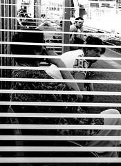 Striped frame (A. Yousuf Kurniawan) Tags: strip line white frame woman streetphotography streetphoto cameraphone cameraphonestreet phonestreet people blackandwhite monochrome minimalism minimalist trainstation waiting horizontal