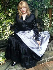 Glimpse of Petticoat :-) (Amber :-)) Tags: long silver satin skirt tgirl transvestite crossdressing