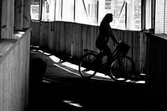Bicycle woman (andersåkerblom) Tags: canon urban city monochrome shadow woman silhouette bicycle blackandwhite