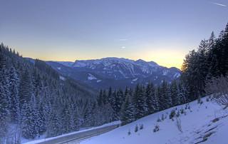 Twilight over Hochschwab as seen from Niederalpl