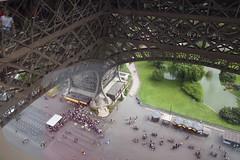 View down from 1st floor of the Eiffeltower (freekblokzijl) Tags: eiffeltower tower france paris seine verne eiffel skyline city