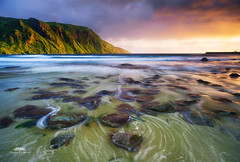 Hoddevik (huddart_martin) Tags: landscape seascape seaside beach water waves sea mountain sunset sunsetlight evening norway norge selje hoddevik sonya99 sony longexposure movement