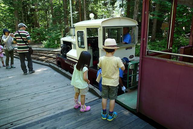 折り返し地点ではディーゼル機関車の前後入れ替えがあり 間近で見ることも出来ます|赤沢森林資料館