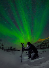 Hunting Northern Lights in the Arctic (Valter Patrial) Tags: portrait people adult man snow green norway one outdoors arctic action adventure recreation aurora borealis boreal lights northern