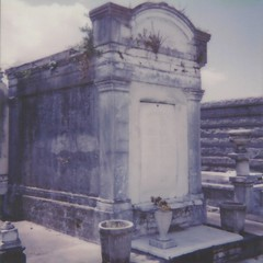 Among Mausoleums (dreamscapesxx) Tags: instant polaroid theimpossibleproject polaroid600businessedition impossible600colorfilm mausoleum old decaying outforawalk roadtrip greenwoodcemetery neworleansla snapitseeit