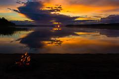 sunset in Jokiniemi Finland (VisitLakeland) Tags: sunset lake nature auringonlasku aurinko ranta järvi fire bonfire fireplace campfire