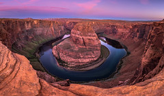 Horseshoe bend panorama (inkasinclair) Tags: horseshoe bend horse shoe america page western usa west landscape dawn sunrise clouds colour magenta cliff rocks water erosion river colorado nature natural wonder nikon d7200 panorama canyon east rim hike trek photography travel