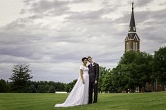 Newly Weds (SteveFrazierPhotography.com) Tags: lds thechurchofjesuschristoflatterdaysaints mormon wedding marriage couple bride groom catholicchurch steeple lawn outdoor cloudy bridalgown may2017 nauvoo temple illinois il nauvooillinoistemple sealed sealing stevefrazierphotography photographer stpeterpaulchurch cross clouds grass veil trane beautiful weddingphotography weddingphotographer macomb