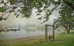Morning Swing (JMS2) Tags: fog harbor swing textures distressedtextures boats morning mist scenic