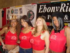 Ebony Rider Girls at 2003 IMS (hootervillefan) Tags: ims international motorcycle show ebony rider ebonyrider ebonyridermagazine busty babes tight red tank top angela white angelawhite