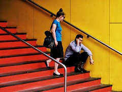 Melbourne 2016/7-1 (michelle-robinson.com) Tags: melbourne 4tografie life adelaide streetlife australia street red everyday streetphotography artist photography michellerobinson dailylife people documentary photographer xt10 fujifilm man woman yellow