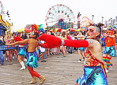 Rock Lobsters (kirstiecat (on vacation...)) Tags: nyc newyorkcity mermaidparade people happy fun usa america canon street brooklyn coneyisland lobster rocklobster costume wonderwheel dancers red colors colour saturation summer
