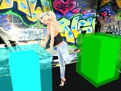 Studio Playtime (jasmine_lolita) Tags: jeans cami blonde pigtails studio graffitti sl firestormsecondlifesecondliferegioncomharsecondlifeparcelcomharfreepublicphotostudiogardenandcavessecondlifex19secondlifey245secondlifez42 camisole lolita