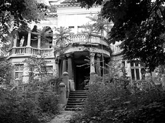 The House with the Srawberries (Veselin Mihaylov) Tags: film bnw bw exterior house sofia strawberries architecture ruins decay mamiya m645 ilford hp5 hc110