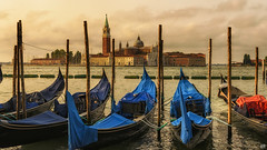 San Giorgio Maggiore (BAN - photography) Tags: sangiorgiomaggiore gondolas pylons venice belltower dome basilica masts d810 spires clouds ropes