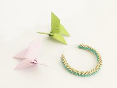 Aluminium mat and turquoise bead crochet bangle (Clay Dreams Design) Tags: aluminium bijoux beads beadcrochet bracelet bracciale bangle jewelry origami butterfly turquoise rocailles seedbeads toho