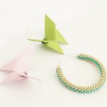 Aluminium mat and turquoise bead crochet bangle thumbnail
