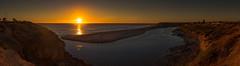 Sunset (Anthony Kernich Photo) Tags: adelaide australia southaustralia sa sunset sun sundown sky yellow orange panorama panoramic seascape landscape coast water ocean sea shore river mouth onkaparinga olympusem10 olympus olympusomd photo photography photogenic view scene beach noarlunga portnoarlunga colour vibrant vibrance flickr pano outdoor
