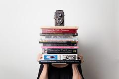 The schooled photographer... (~ cynthiak ~) Tags: 365 365days 3652017 2017 june june2017 selfportrait 177365 img8709 onestrobe hereios werehere athomewithbooks books photographybooks camera
