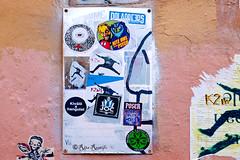 Roma. Trastevere. Sticker art by Tzing Tao, Nite Owl-Psyco, K2m, JOC, Poser, Shamrock tattoo, ... (R come Rit@) Tags: italia italy roma rome ritarestifo photography streetphotography urbanexploration exploration urbex streetart arte art arteurbana streetartphotography urbanart urban wall walls wallart graffiti graff graffitiart muro muri artwork streetartroma streetartrome romestreetart romastreetart graffitiroma graffitirome romegraffiti romeurbanart urbanartroma streetartitaly italystreetart contemporaryart artecontemporanea artedistrada underground tzingtao niteowl psyco k2m joc poser shamrocktattoo trastevere rionetrastevere sticker stickers stickerart stickerbomb stickervandal slapart label labels adesivi slaps signscommunication roadsign segnalistradali signposts trafficsignals