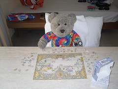 Puzzling (pefkosmad) Tags: teenytinypuzzle 300pieces used secondhand missingpieces incomplete tedricstudmuffin teddy bear ted holibobs tedsholibobs holiday vacation vacances pastime leisure hobby pefkos pefki pefkoi rhodes rodos dodecanese hellas greece greekislands griechenland jigsaw puzzle smuggled cute soft toy animal fluffy softie plush world map earth