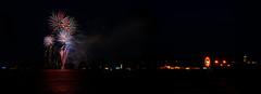 Mardi Gras Fireworks (Jeff®) Tags: fireworks copyright©byjeffreytaipale jeff® j3ffr3y mardigras fairportharbor fairportlighthouse fairportharborlakefrontpark colors night light party fun crowd beach panorama pyrotechnics
