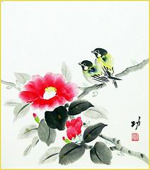 Camellia and tit (Japanese Flower and Bird Art) Tags: flower camellia japonica theaceae bird tit paridae isao akita nihonga shikishi japan japanese art readercollection