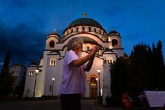 Spiritual awakening (Master Iksi) Tags: music spiritual orthodox pravoslavlje serbia srbija hramsvetogsave night sky blue flaute streetperformance art artist nikond7100 sigma1750 playing relaxing