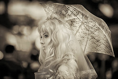 Busking Bride (Ian Sane) Tags: ian sane images buskingbride street performer portland state university farmers market oregon monochrome candid photography canon eos 5ds r camera ef70200mm f28l is usm lens