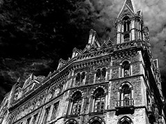 The Renaissance Hotel, Saint Pancras (Snapshooter46) Tags: saintpancras renaissancehotel london architecture architect georgegilbertscott gothicrevival ornate brickwork monochrome photosketch blackandwhite railwayhotel midlandrailway
