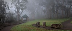 Fog (Aurorajane) Tags: outdoor landscape pano fog bushsetting bushland huts stone picnic lookout hill mountain gibraltar southernhighlands highlands wingecarribee bowral 2576 damp cold wet early