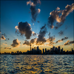 Summer Sunset (Rodrick Dale) Tags: summer sunset toronto harbour lake ontario canada cloud sky water city scape