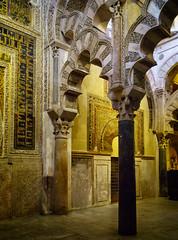 Villaviciosa Chapel arches (Tiigra) Tags: córdoba andalucía spain es 2015 architecture church color column cordoba interior moorish mosaic ornament arch