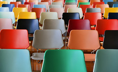 No college today (‹ Wim ›) Tags: kunsthal auditorium rotterdam chairs wimgoedhart goedhartontwerpnl colors polychrome colored kleurrijke stoelen architecture red groen rood seats geel yellow black zwart sunny frames kunsthalrotterdam nikond610 mainauditorium kunsthalrotterdamnetherlands remkoolhaas officeformetropolitanarchitecture colorful sublime art nikonflickraward