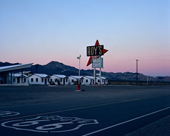 route 66 twilight. amboy, ca. 2014. (eyetwist) Tags: eyetwistkevinballuff eyetwist route66 amboy roys sunset mojavedesert fotoman 45ps 150mm kodak ektar 100 fotoman45ps fujinonw150mmf56 kodakektar100 film filmexif iconla epsonv750pro lenstagger ishootkodak 4x5 largeformat ishootfilm analog analogue sheetfilm americana landscape mojave desert motel cafe roysmotel royscafe vacancy california highdesert america roadtrip road roadside route 66 motherroad vintage goldenhour sheet large format mcm arrow googie sign type typography typographic font lettering dusk pink light ambient weathered historic landmark twilight americantypologies