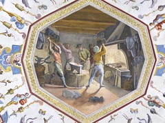 Smiths at work (Kumukulanui) Tags: uffizi art painting mural ceiling firenze florence smiths anvil furnace workingclass workers menatwork hardwork