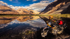 Motorcycle Diaries - Nubra Valley, India (Kartik Kumar S) Tags: nubra valley ladakh leh india reflection mountains clouds bike bullet rides canon 600d tokina 1116mm landscape waterscape