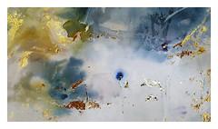 a glimpse of blue ocean (Carolyn Saxby) Tags: canvas texture acrylics gold metalleaf blue ocean sea wherecolourscollide textileartist carolynsaxby