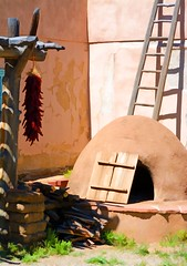 JUST BECAUSE MY PATH IS DIFFERENT DOESN'T MEAN I AM LOST (Irene2727) Tags: taos newmexico ladder kiln oven lines outdoor ristra chilipeppers adobe