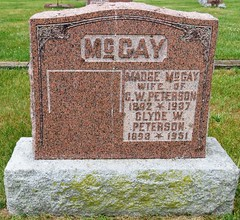 McGay, Madge  1892 - 1937 & Peterson, Clyde W.  1893 - 1951 (Hear and Their) Tags: grave marker stone gravestone tomb tombstone greenhill cemetery kingsville fraternal masonic oddfellow